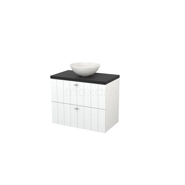 Badkamermeubel voor Waskom 80cm Mat Wit Lamel Modulo+ Plato Carbon Blad BMK001752