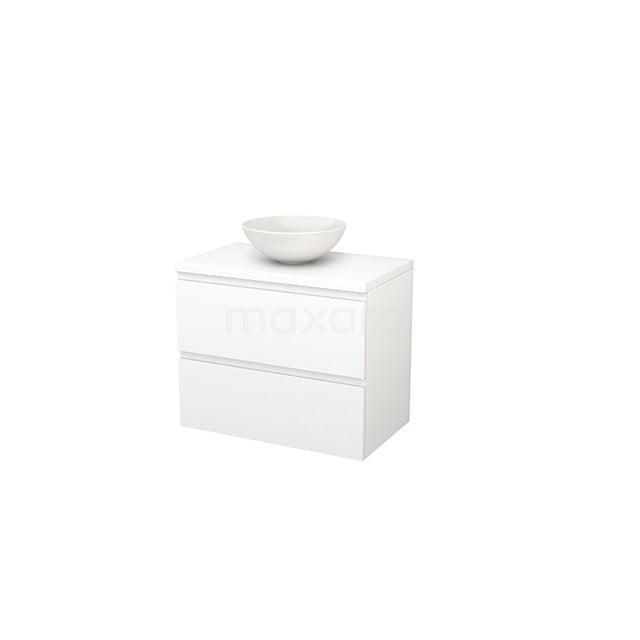 Badkamermeubel voor Waskom 80cm Modulo+ Plato Mat Wit 2 Lades Greeploos BMK001762