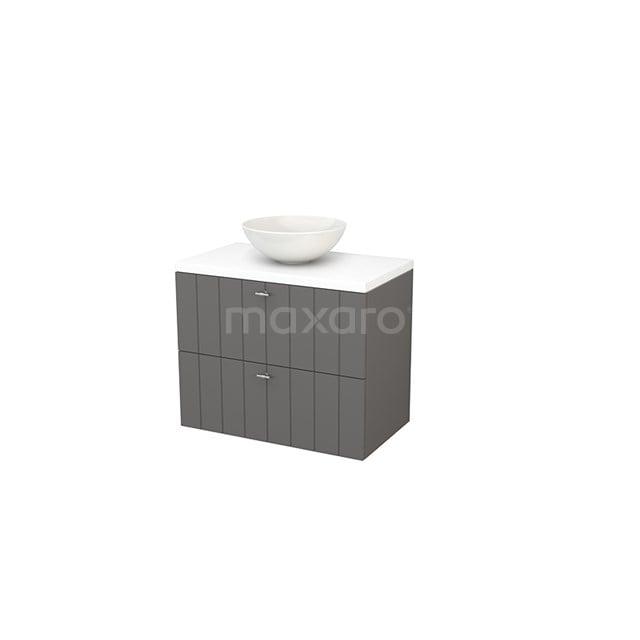 Badkamermeubel voor Waskom 80cm Basalt Lamel Modulo+ Plato Mat Wit Blad BMK001771