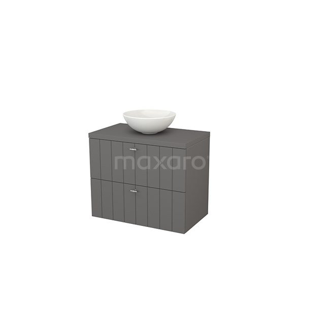 Badkamermeubel voor Waskom 80cm Modulo+ Plato Basalt 2 Lades Lamel BMK001773