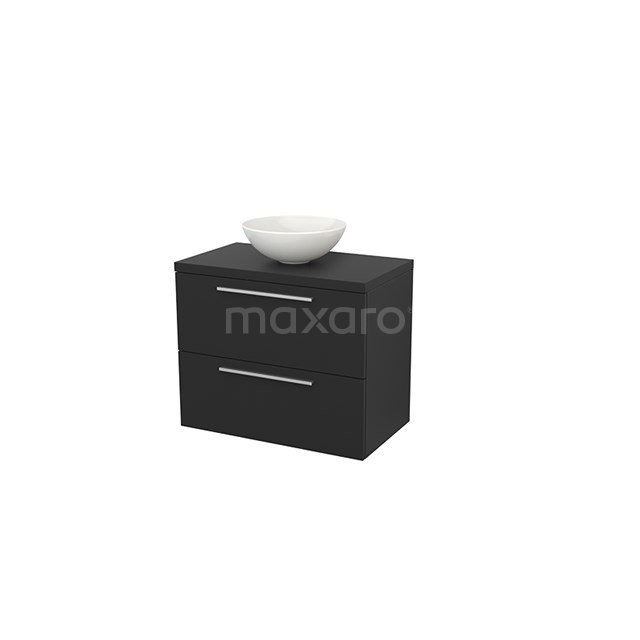Badkamermeubel voor Waskom 80cm Modulo+ Plato Carbon 2 Lades Vlak BMK001782