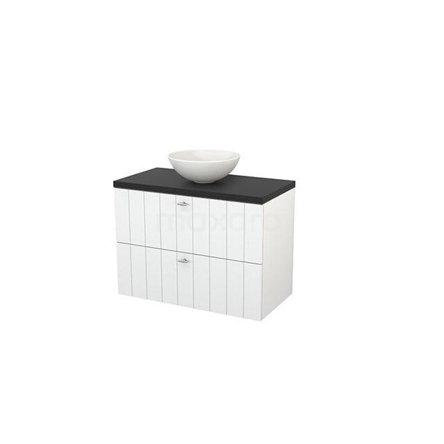 Badkamermeubel voor Waskom 90cm Hoogglans Wit Lamel Modulo+ Plato Carbon Blad BMK001818