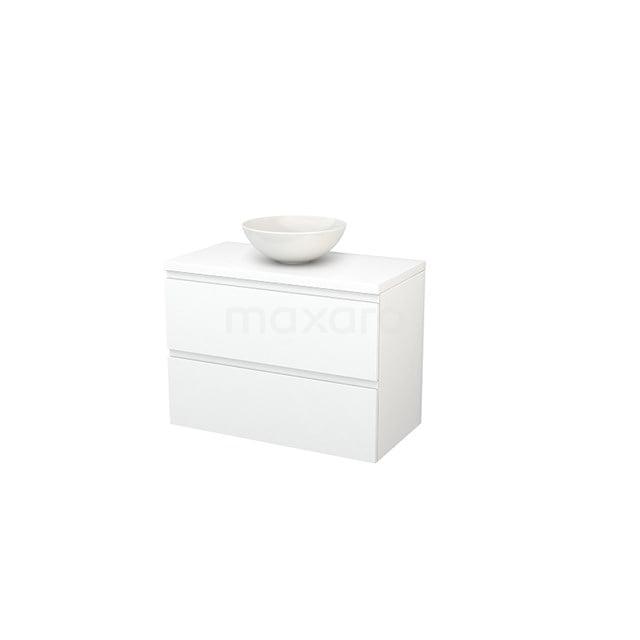 Badkamermeubel voor Waskom 90cm Modulo+ Plato Mat Wit 2 Lades Greeploos BMK001852