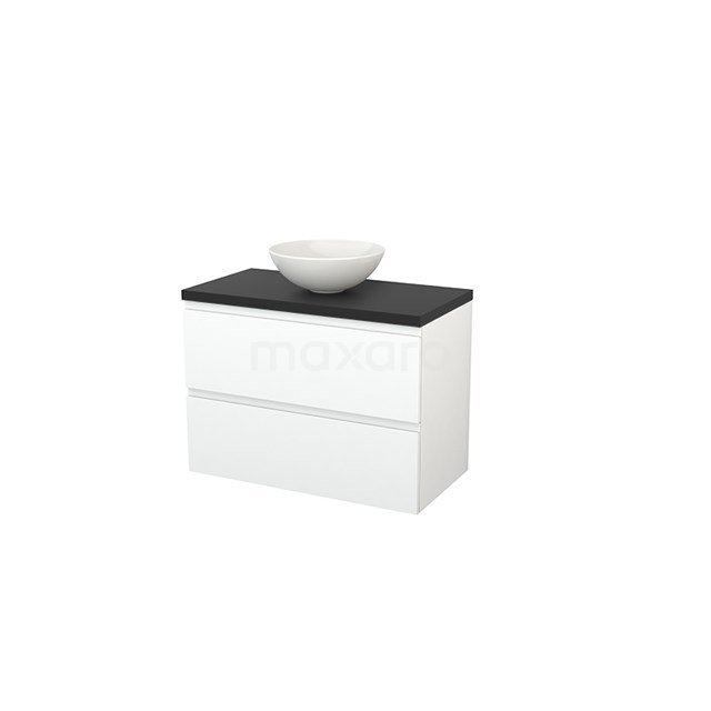 Badkamermeubel voor Waskom 90cm Mat Wit Greeploos Modulo+ Plato Carbon Blad BMK001854
