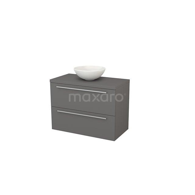Badkamermeubel voor Waskom 90cm Modulo+ Plato Basalt 2 Lades Vlak BMK001860
