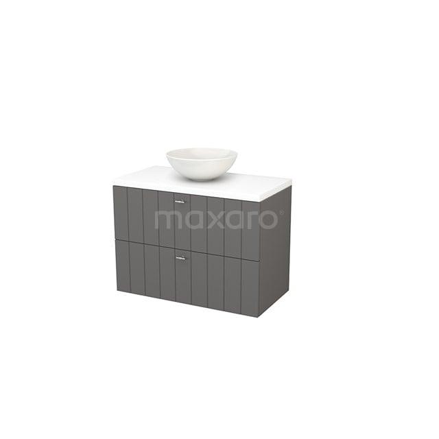 Badkamermeubel voor Waskom 90cm Basalt Lamel Modulo+ Plato Mat Wit Blad BMK001861