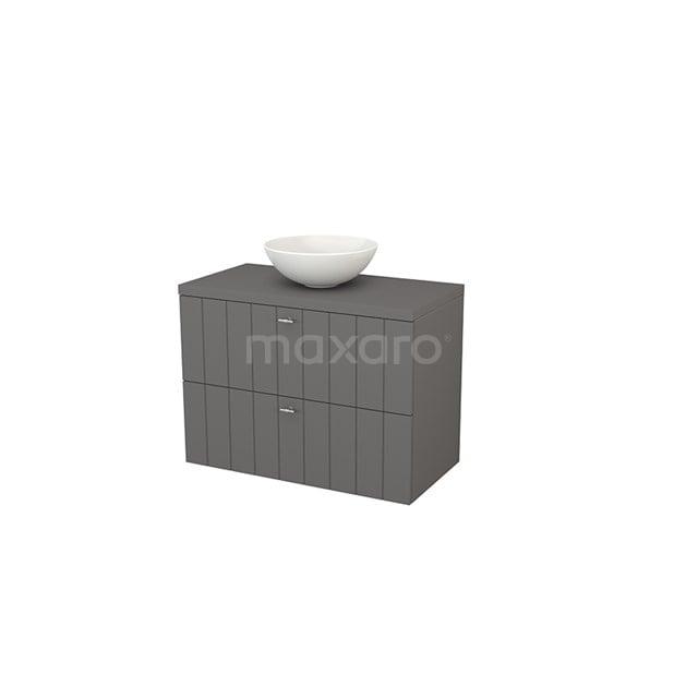 Badkamermeubel voor Waskom 90cm Modulo+ Plato Basalt 2 Lades Lamel BMK001863
