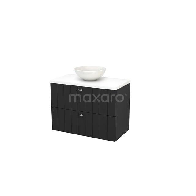Badkamermeubel voor Waskom 90cm Carbon Lamel Modulo+ Plato Hoogglans Wit Blad BMK001874