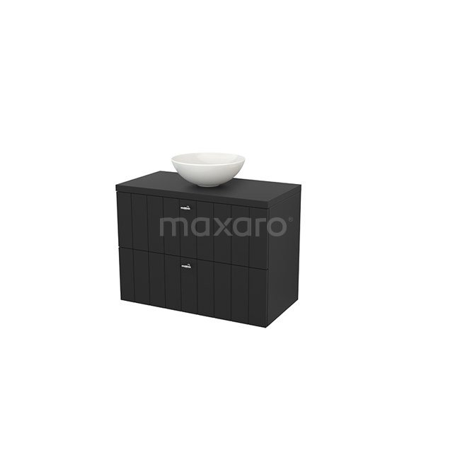 Badkamermeubel voor Waskom 90cm Modulo+ Plato Carbon 2 Lades Lamel BMK001875
