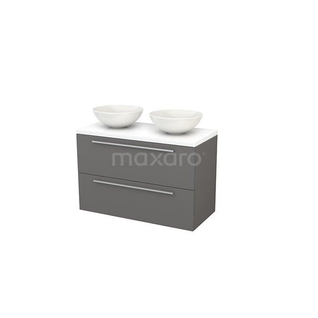 Badkamermeubel voor Waskom 100cm Modulo+ Plato Basalt 2 Lades Vlak Hoogglans Wit Blad BMK001949