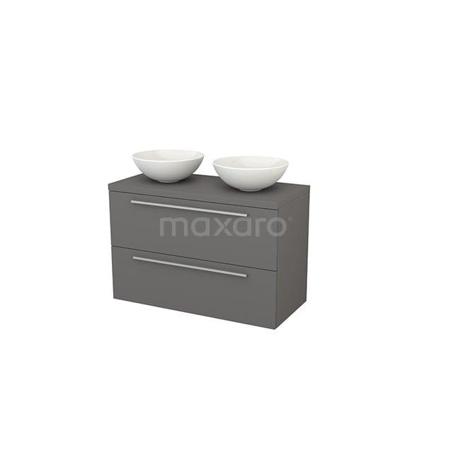 Badkamermeubel voor Waskom 100cm Modulo+ Plato Basalt 2 Lades Vlak BMK001950