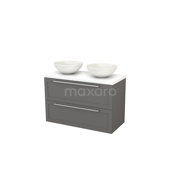 Badkamermeubel voor Waskom 100cm Modulo+ Plato Basalt 2 Lades Kader Hoogglans Wit Blad BMK001955