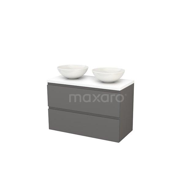 Badkamermeubel voor Waskom 100cm Modulo+ Plato Basalt 2 Lades Greeploos Hoogglans Wit Blad BMK001958