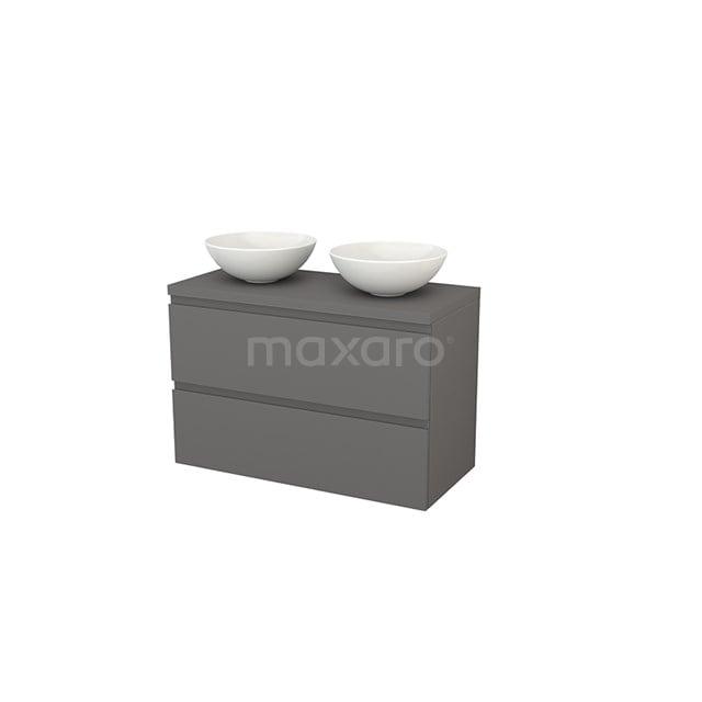 Badkamermeubel voor Waskom 100cm Modulo+ Plato Basalt 2 Lades Greeploos BMK001959