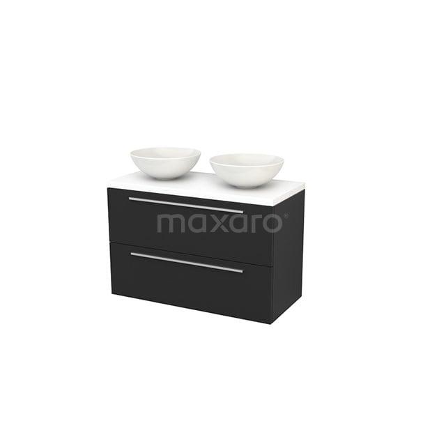 Badkamermeubel voor Waskom 100cm Modulo+ Plato Carbon 2 Lades Vlak Mat Wit Blad BMK001960