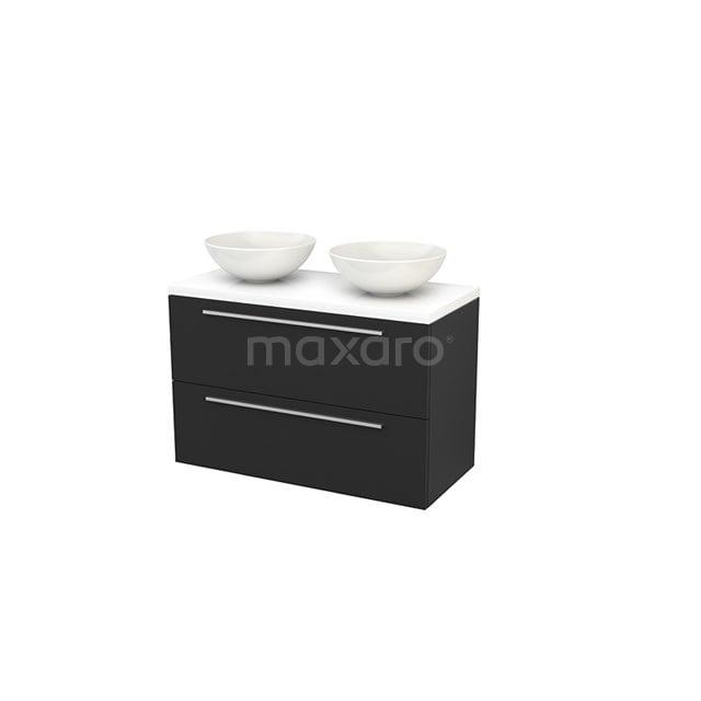 Badkamermeubel voor Waskom 100cm Modulo+ Plato Carbon 2 Lades Vlak Hoogglans Wit Blad BMK001961