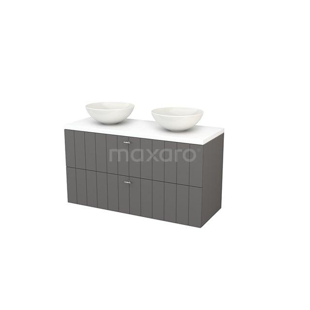 Badkamermeubel voor Waskom 120cm Basalt Lamel Modulo+ Plato Mat Wit Blad BMK002041