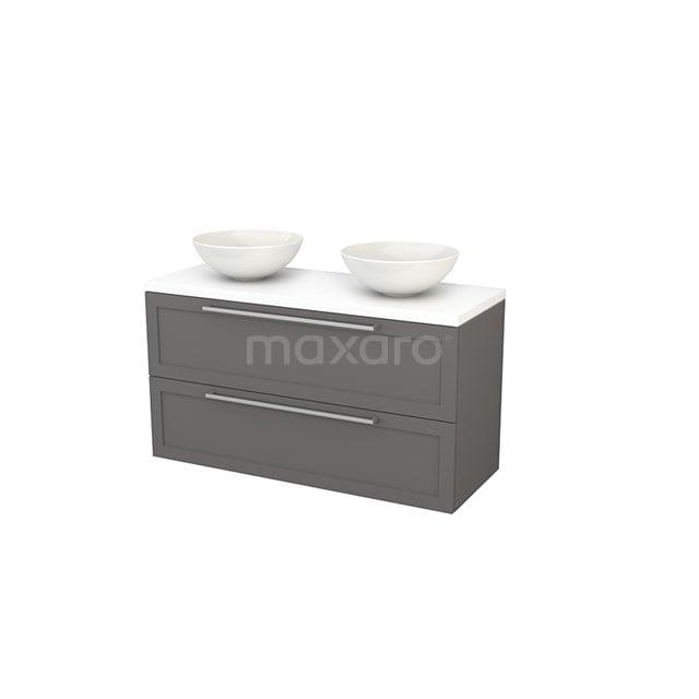 Badkamermeubel voor Waskom 120cm Basalt Kader Modulo+ Plato Mat Wit Blad BMK002044