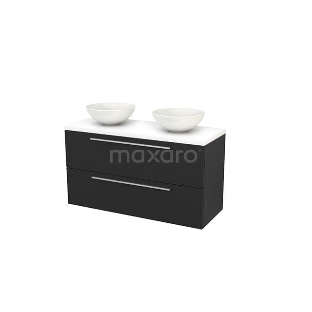 Badkamermeubel voor Waskom 120cm Carbon Vlak Modulo+ Plato Hoogglans Wit Blad BMK002051