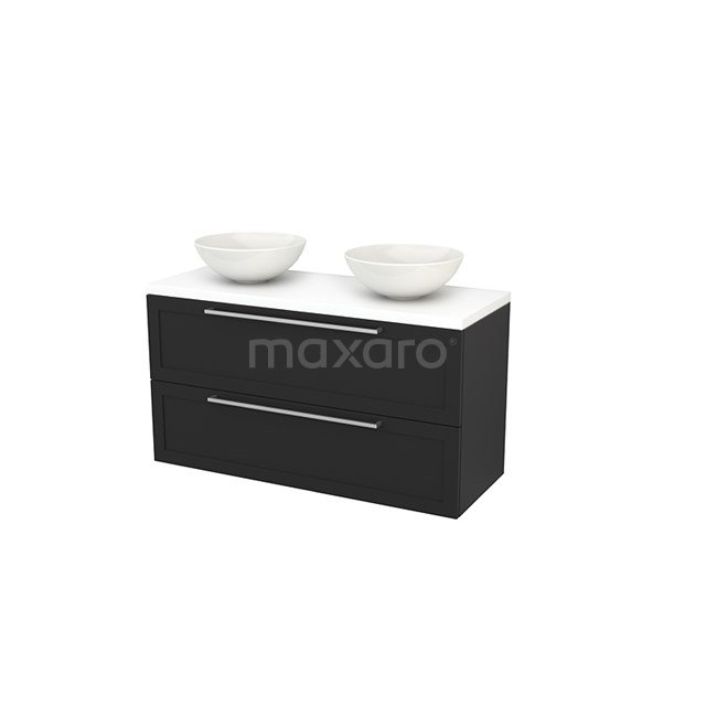 Badkamermeubel voor Waskom 120cm Carbon Kader Modulo+ Plato Mat Wit Blad BMK002056
