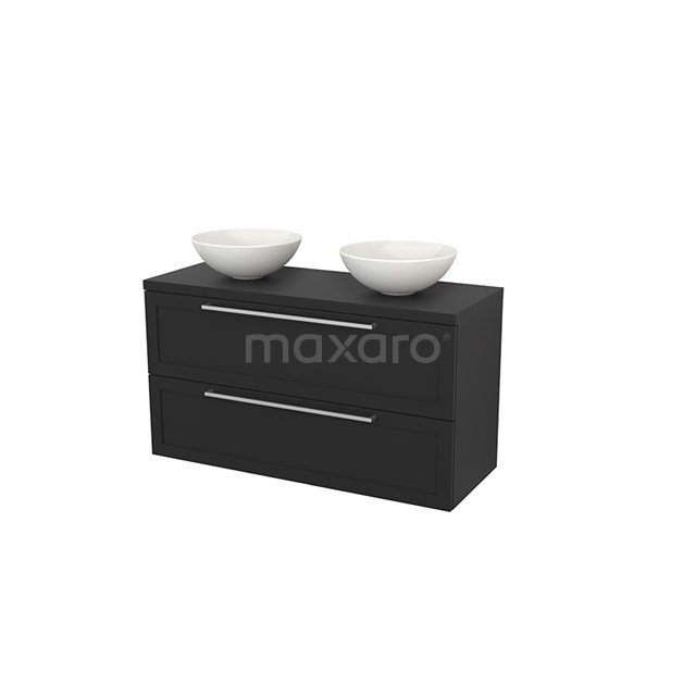 Badkamermeubel voor Waskom 120cm Modulo+ Plato Carbon 2 Lades Kader BMK002058