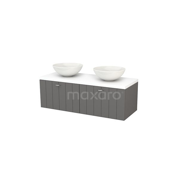 Badkamermeubel voor Waskom 120cm Basalt Lamel Modulo+ Plato Mat Wit Blad BMK002131