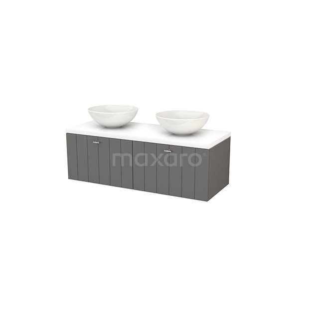 Badkamermeubel voor Waskom 120cm Basalt Lamel Modulo+ Plato Hoogglans Wit Blad BMK002132