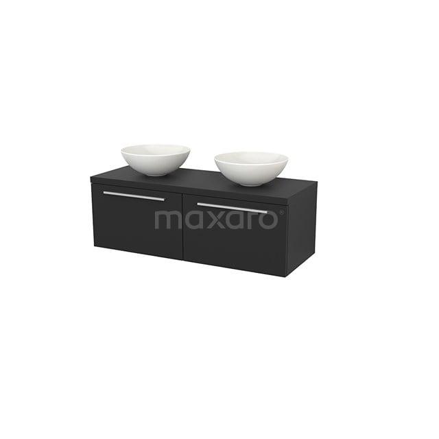 Badkamermeubel voor Waskom 120cm Modulo+ Plato Carbon 2 Lades Vlak BMK002142