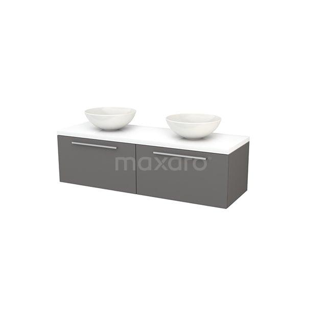 Badkamermeubel voor Waskom 140cm Basalt Vlak Modulo+ Plato Hoogglans Wit Blad BMK002219