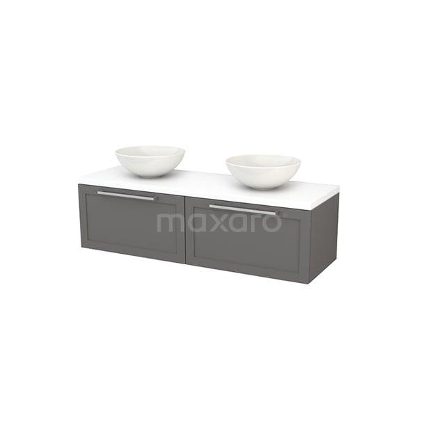 Badkamermeubel voor Waskom 140cm Basalt Kader Modulo+ Plato Mat Wit Blad BMK002224