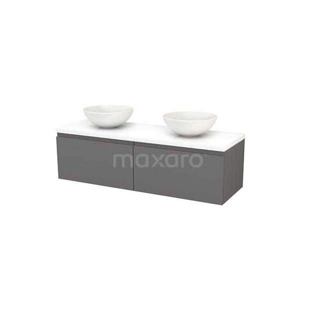 Badkamermeubel voor Waskom 140cm Basalt Greeploos Modulo+ Plato Hoogglans Wit Blad BMK002228