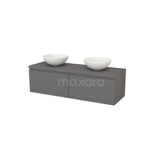 Badkamermeubel voor Waskom 140cm Modulo+ Plato Basalt 2 Lades Greeploos BMK002229