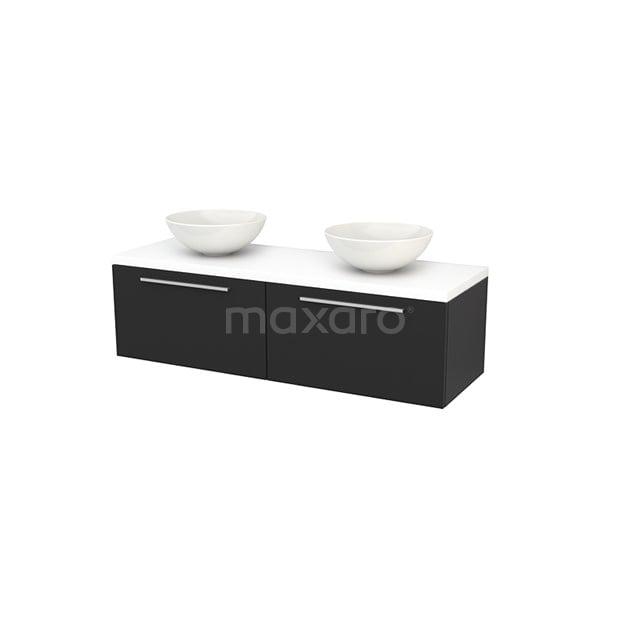 Badkamermeubel voor Waskom 140cm Carbon Vlak Modulo+ Plato Mat Wit Blad BMK002230