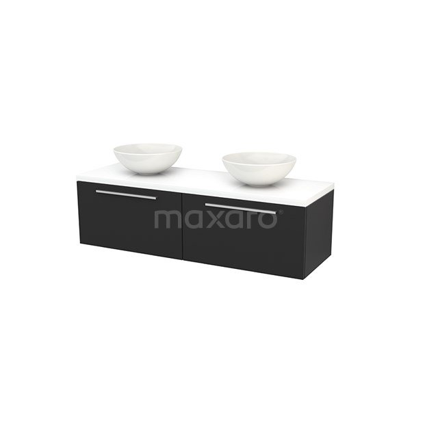 Badkamermeubel voor Waskom 140cm Carbon Vlak Modulo+ Plato Hoogglans Wit Blad BMK002231