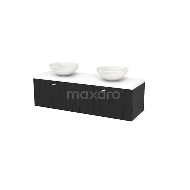 Badkamermeubel voor Waskom 140cm Carbon Lamel Modulo+ Plato Mat Wit Blad BMK002233