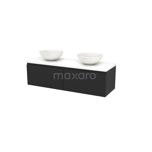 Badkamermeubel voor Waskom 140cm Carbon Greeploos Modulo+ Plato Hoogglans Wit Blad BMK002240