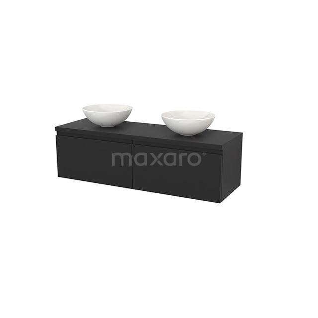 Badkamermeubel voor Waskom 140cm Modulo+ Plato Carbon 2 Lades Greeploos BMK002241