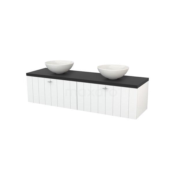 Badkamermeubel voor Waskom 160cm Hoogglans Wit Lamel Modulo+ Plato Carbon Blad BMK002268