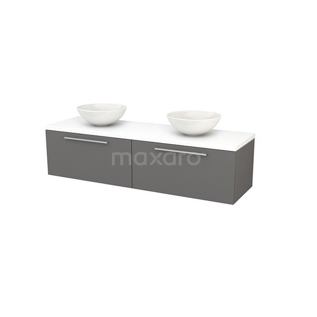 Badkamermeubel voor Waskom 160cm Basalt Vlak Modulo+ Plato Mat Wit Blad BMK002308