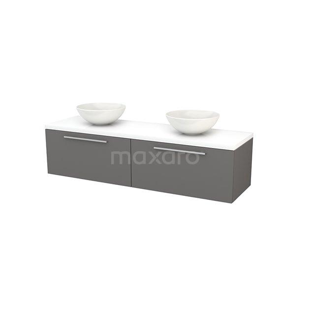 Badkamermeubel voor Waskom 160cm Basalt Vlak Modulo+ Plato Hoogglans Wit Blad BMK002309