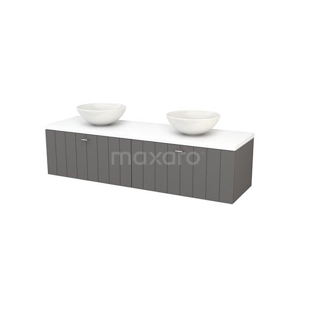 Badkamermeubel voor Waskom 160cm Basalt Lamel Modulo+ Plato Mat Wit Blad BMK002311