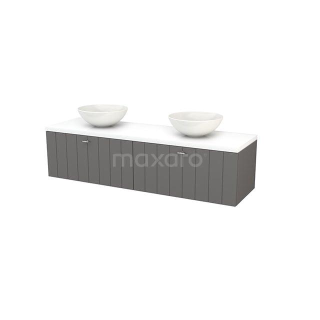Badkamermeubel voor Waskom 160cm Basalt Lamel Modulo+ Plato Hoogglans Wit Blad BMK002312