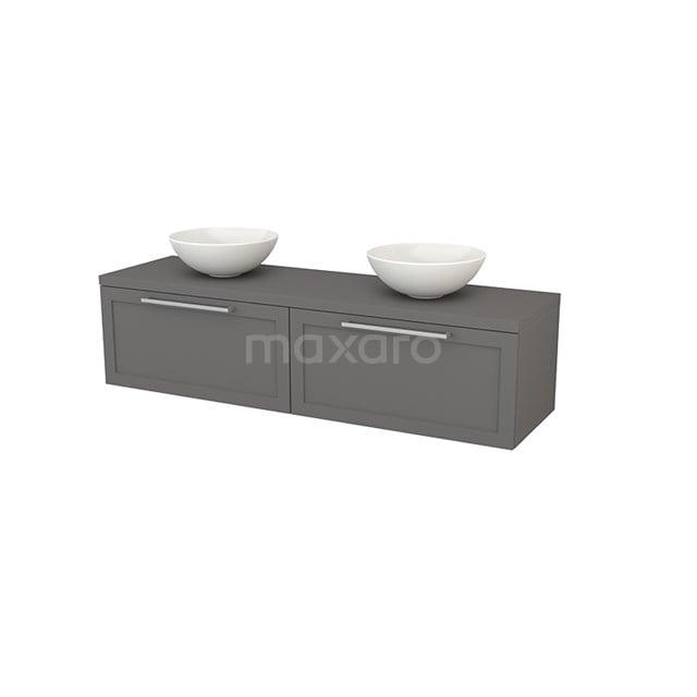 Badkamermeubel voor Waskom 160cm Modulo+ Plato Basalt 2 Lades Kader BMK002316