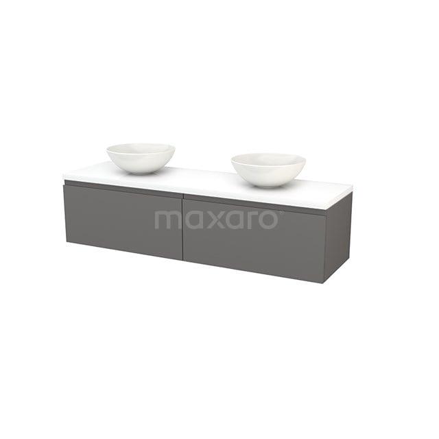 Badkamermeubel voor Waskom 160cm Basalt Greeploos Modulo+ Plato Hoogglans Wit Blad BMK002318