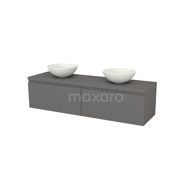 Badkamermeubel voor Waskom 160cm Modulo+ Plato Basalt 2 Lades Greeploos BMK002319