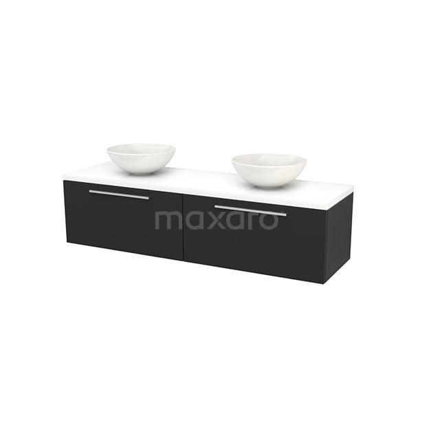 Badkamermeubel voor Waskom 160cm Carbon Vlak Modulo+ Plato Hoogglans Wit Blad BMK002321