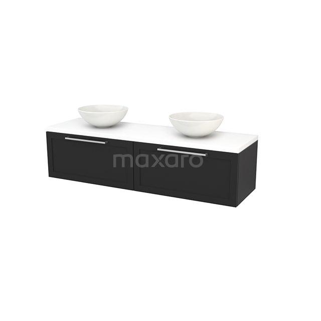 Badkamermeubel voor Waskom 160cm Carbon Kader Modulo+ Plato Mat Wit Blad BMK002326