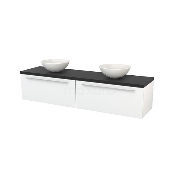 Badkamermeubel voor Waskom 180cm Hoogglans Wit Vlak Modulo+ Plato Carbon Blad BMK002352