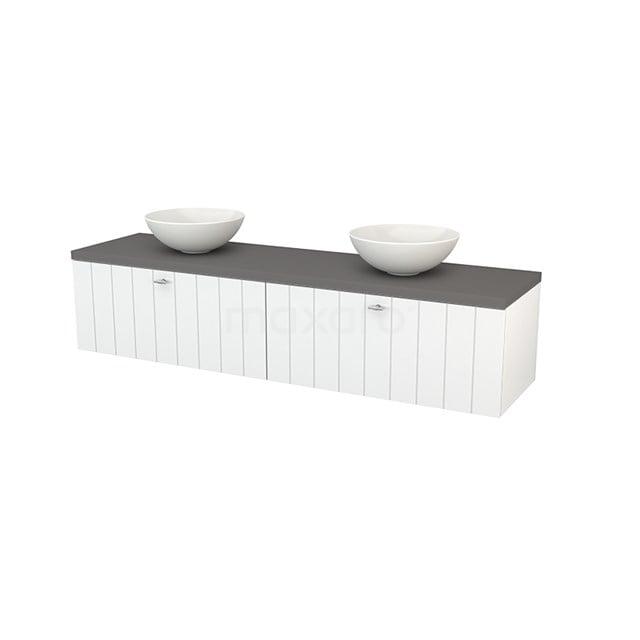 Badkamermeubel voor Waskom 180cm Hoogglans Wit Lamel Modulo+ Plato Basalt Blad BMK002357