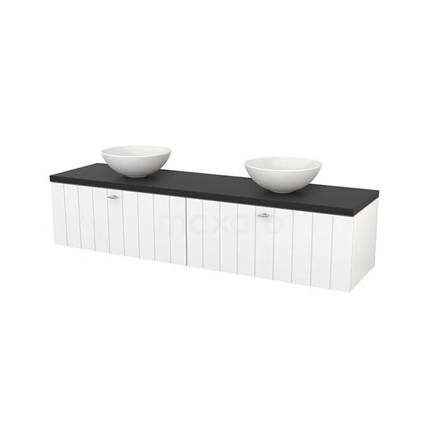 Badkamermeubel voor Waskom 180cm Hoogglans Wit Lamel Modulo+ Plato Carbon Blad BMK002358